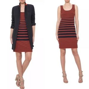 AKRIS punto Striped Sleeveless Sheath Dress